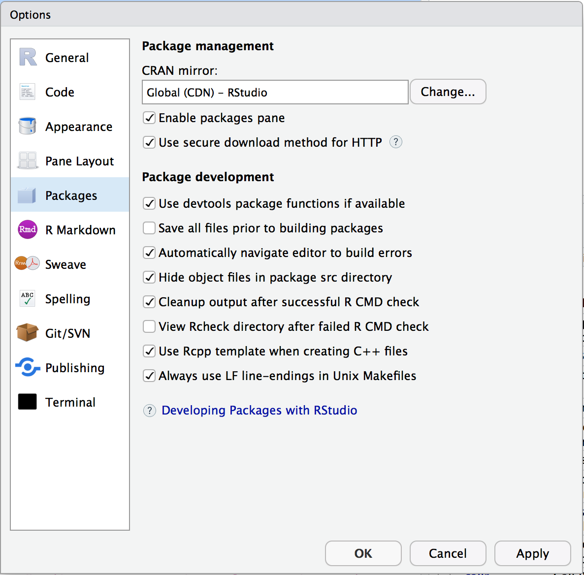 RStudio package preferences